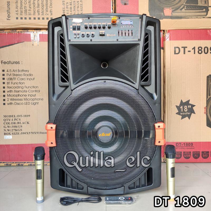 Speaker Bluetooth 18 inch DAT DT 1809 Free 2 Mic Wireless