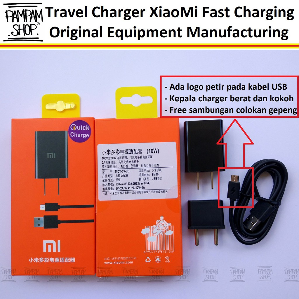 Xiaomi Travel Charger 2A Fast Charging Original -Hitam | Shopee Indonesia
