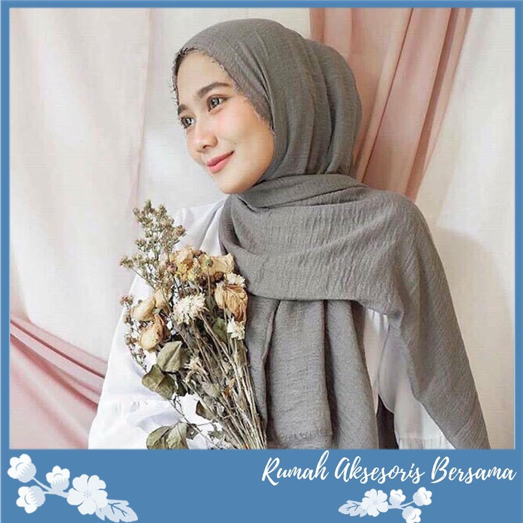 Rab Crinkle Hijab Pashmina Arabian Shawl Cotton Wide Hijab Jilbab Pasmina Premium Jilbab Katun Shopee Indonesia