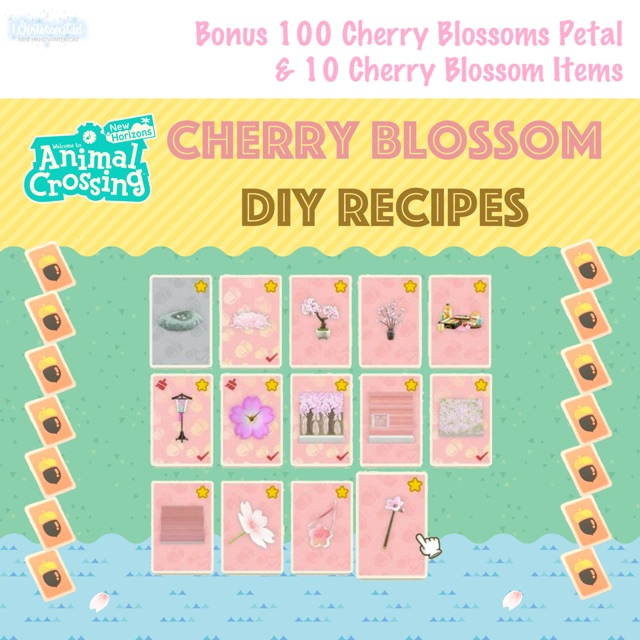 Animal Crossing Diy Cherry Blossom Recipes Paket Lengkap Sakura Acnh Bells Nmt Shopee Indonesia