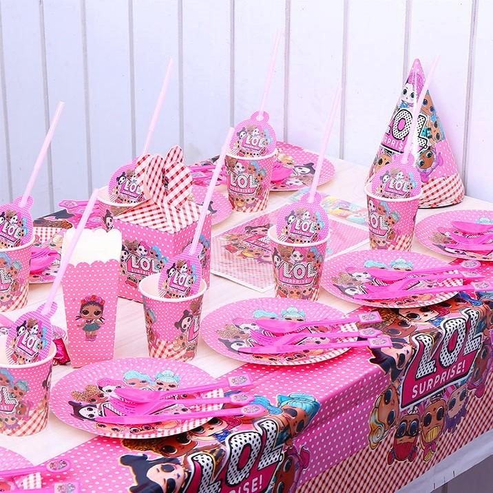 Lol Suprise Alat Makan Piring Cangkir Topi Mainan Dekorasi Meja Pesta Ulang Tahun Anak Perempuan