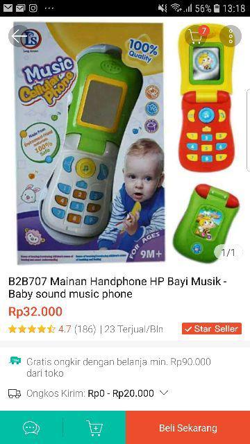 B2b707 Mainan Handphone Hp Bayi Musik Baby Sound Music Phone