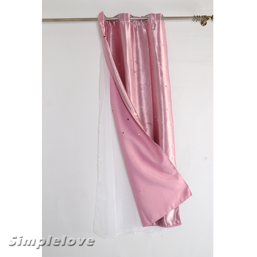 Simplelove Girls Bedroom Curtain For Starry Twinkle Blackout Curtains With Voile Shopee Indonesia