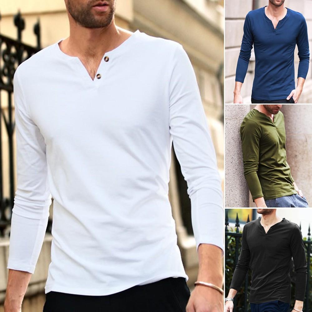 Mens Long Sleeve V Neck T Shirt Aqua Biru Muda Xl Shopee Indonesia Ferrox Kaos O Lengan Pendek Unisex All Size Putih