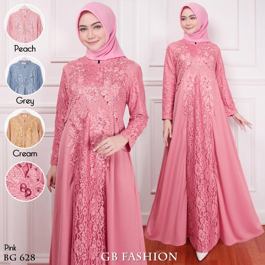 Gamis Muslim Brokat Pink Gaya Busana Shopee Indonesia