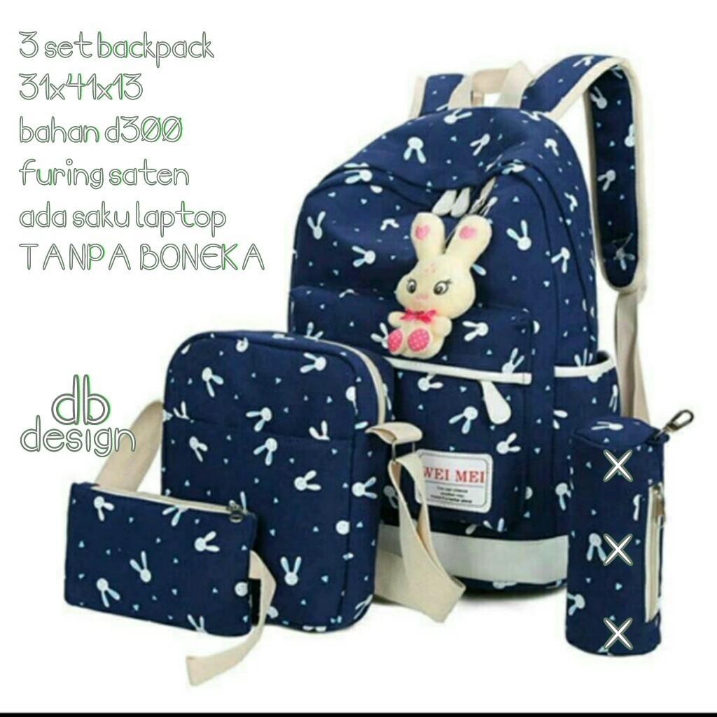 Tas Ransel Backpack Sekolah Anak Fashion Hangout Micro Gg 3in1 Dj08 Kait Nylon Set Shopee Indonesia