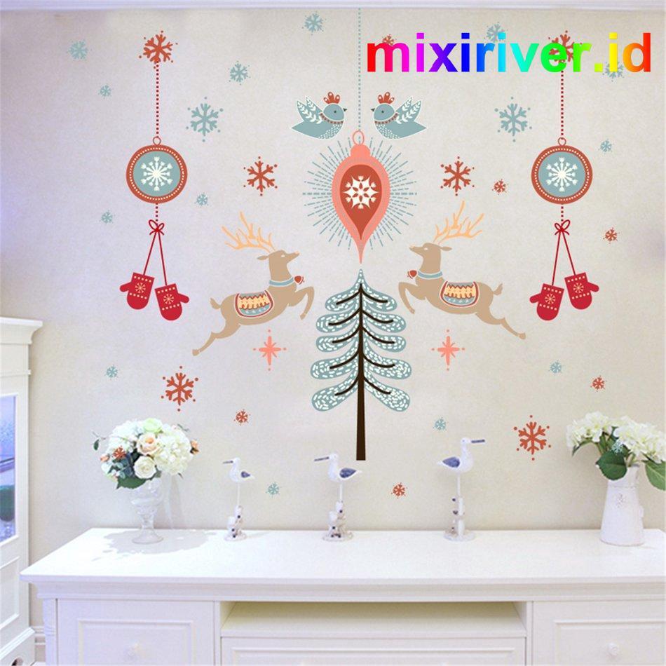 Xl840 Stiker Dinding Dengan Bahan PVC Dan Gambar Kartun Natal 3D Untuk Dekorasi Rumah