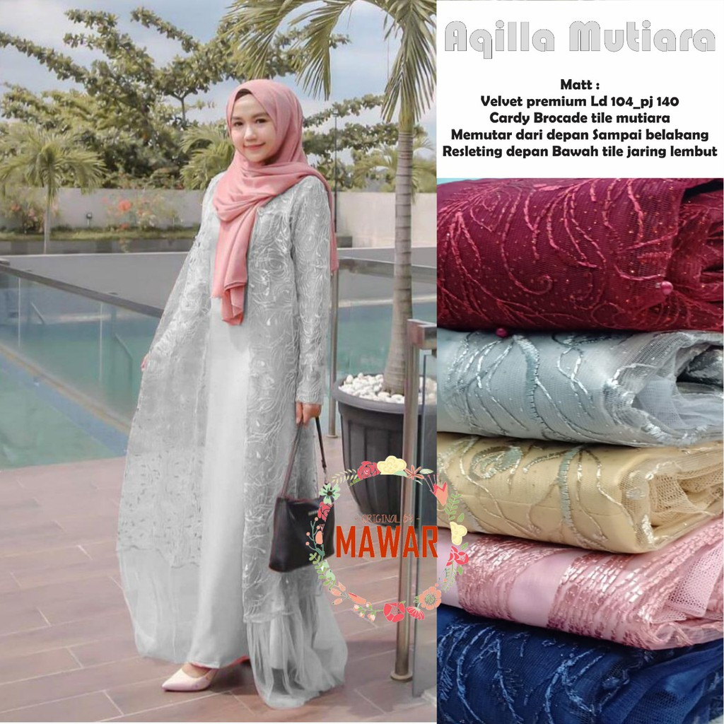 Zola_Batik Gamis Brokat Tile Maxmara Aqilla Mutiara