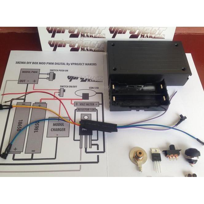 NEW PAKET RAKIT DIY BOX MOD PWM DIGITAL + FREE BOX PLASTIK ,