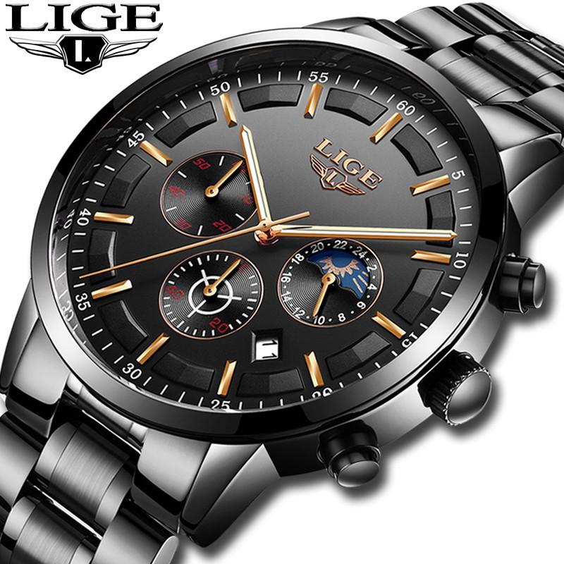 Jam tangan pria LIGE Bisnis Fashion Pria Stainless Steel Tahan Air Menonton  Pria Analog Quartz Watch a24ba011e5