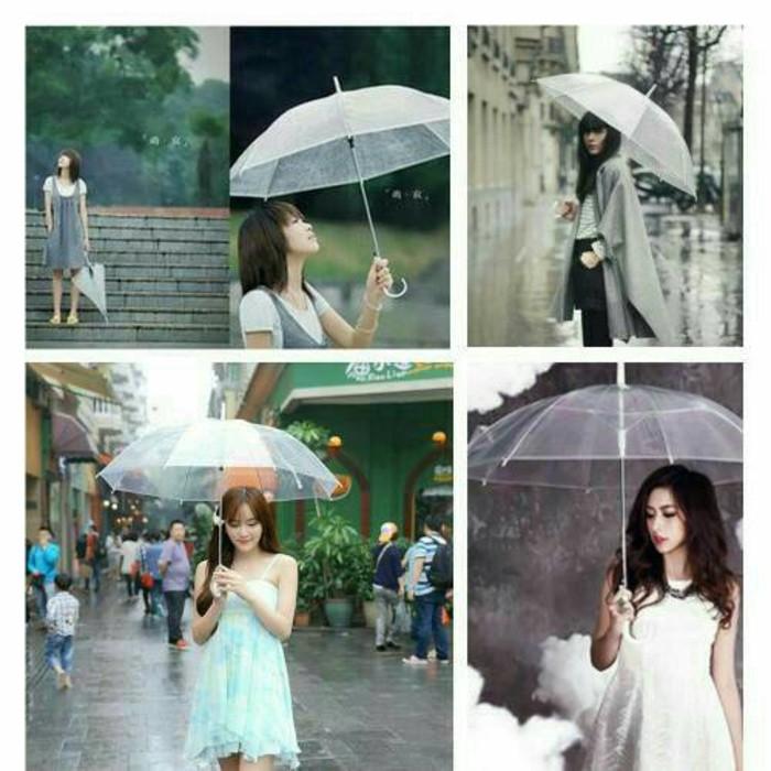 Unik Payung Transparan Bening umbrella transparant Korea Japan Best Quality Murah   Shopee Indonesia