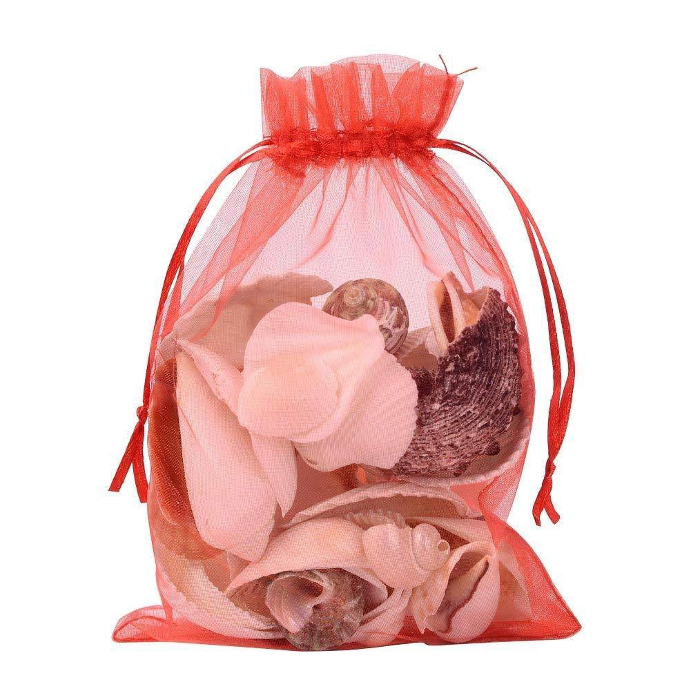 100PCS Black Organza Gift Bags Wedding Favour Bags Jewelry Drawstring Pouches Small 7cmx9cm