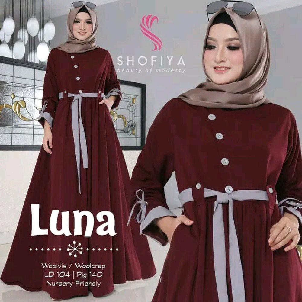 Gamis Narayana 2 By Shofiya Shopee Indonesia Baju Muslim Wanita Cewek Hijaber Maxy Maxi Long Veana Dress Limited