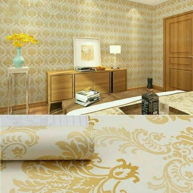 Wallpaper Dinding Murah Gold Kamar Tidur Ruang Tamu Keluarga Indah Mewah Elegan Minimalis Simple Shopee Indonesia