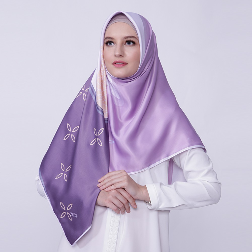 Zaskia Mecca Raya Scarf Purple Shopee Indonesia Elvia Tunik Hitam