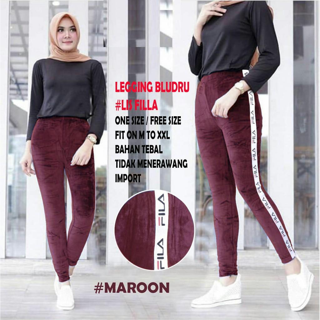 Fashion Wanita Legging Bludru Fila Ed Celana Legging Shopee Indonesia