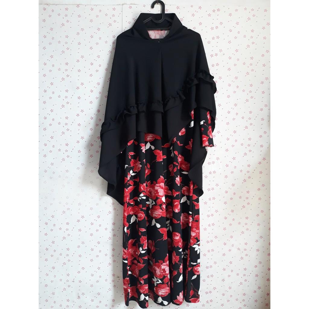 Baju Wanita Gamis Syari Hitam Merah Motif Bunga