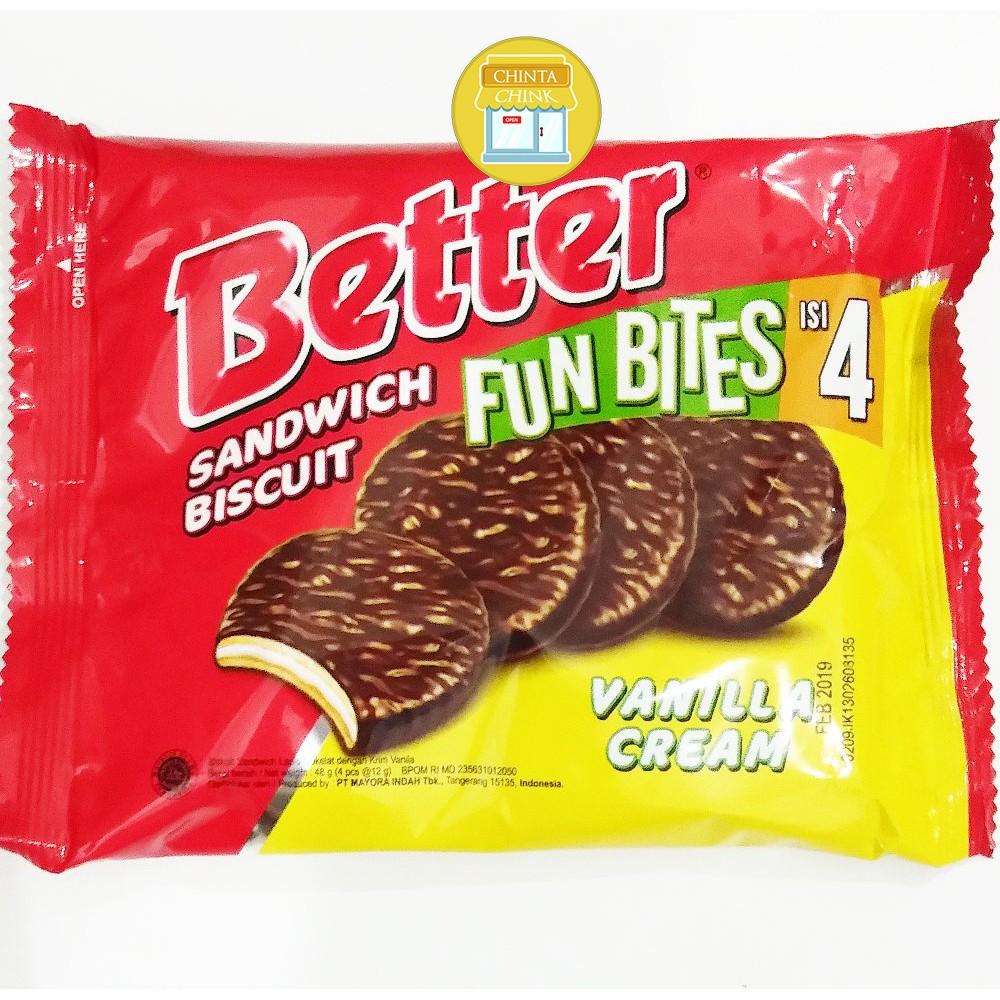 Biskuitkemasan: Roma Better Biskuit Sandwich Vanilla Fun Bites Jual Per