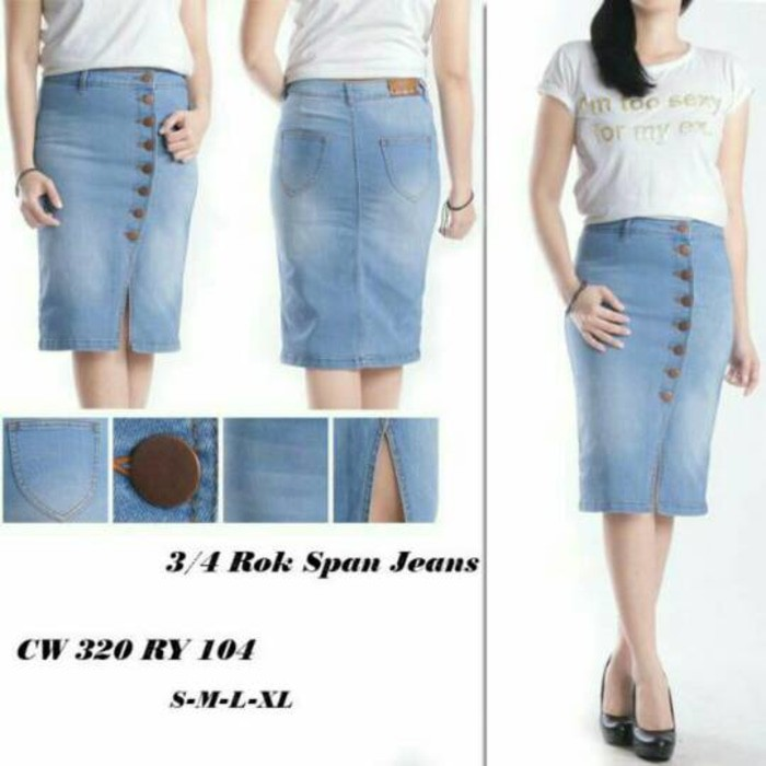 Rok Jeans Span Kancing Cw 103 104 Shopee Indonesia
