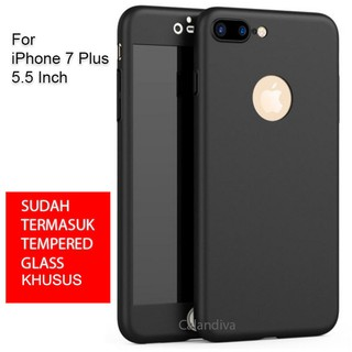 Calandiva Front Back Protection Case 360 Degree With Tempered Glass for Iphone 7 Plus 5.5 Inch