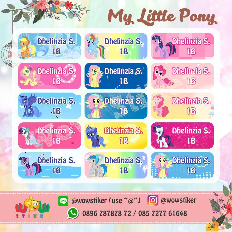 Stiker Sticker Label Nama Anak Waterproof My Little Pony Shopee Indonesia
