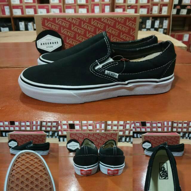 f6a4996f16 Sepatu Vans Slip On Mono OG BASIC Black White Hitam Putih - Original PREMIUM  BNIB IMPORT