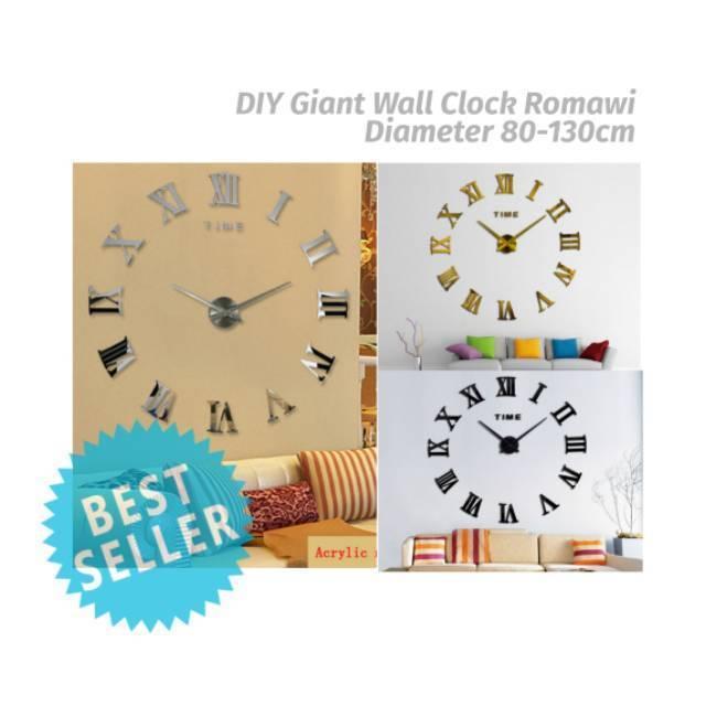 Jam Dinding Jumbo 3D DIY Giant Wall Clock 90cm Diameter - Model Numeral -  12S022  6157f57230