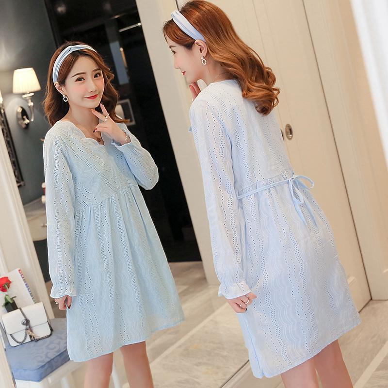 Maternity Dress New Lace Pregnant Women Long Sleeve Shirt Pregnancy Wear