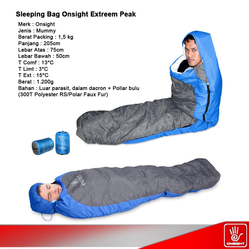 Sleeping Bag Mummy Extreem Peak Onsight Camping 13 Xaba Shopee Indonesia
