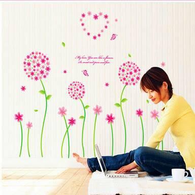 (WSIDM) wall sticker 50x70 wall stiker trans AY7099 PINK FLOWER VINES | Shopee Indonesia