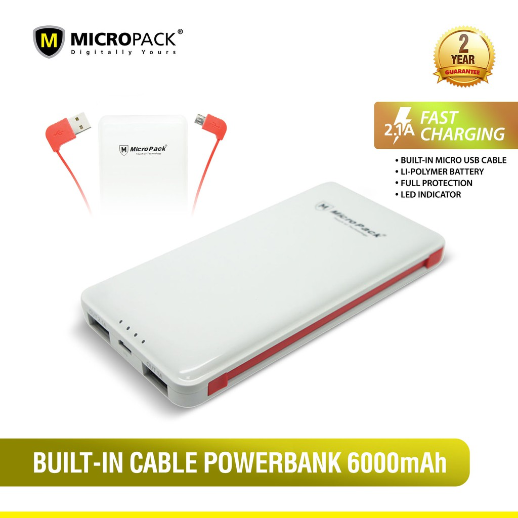 Micropack Power Bank 6000 MAH LI-Polymer Built in Cable (P6000P)