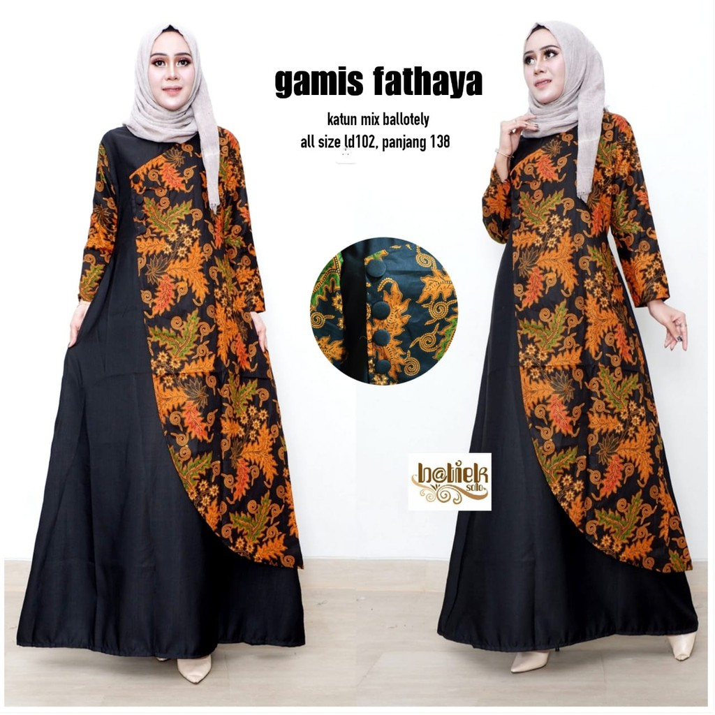 Gamis Fathaya Fashion Wanita -Gamis Batik Modern -Dress Batik -Batik  Kombinasi -Batik Solo -Batiek