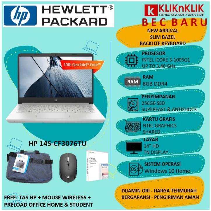 LAPTOP HP 14S CF3076TU SILVER 8GB INTEL CORE I3 INCLUDE OHS - BEC5