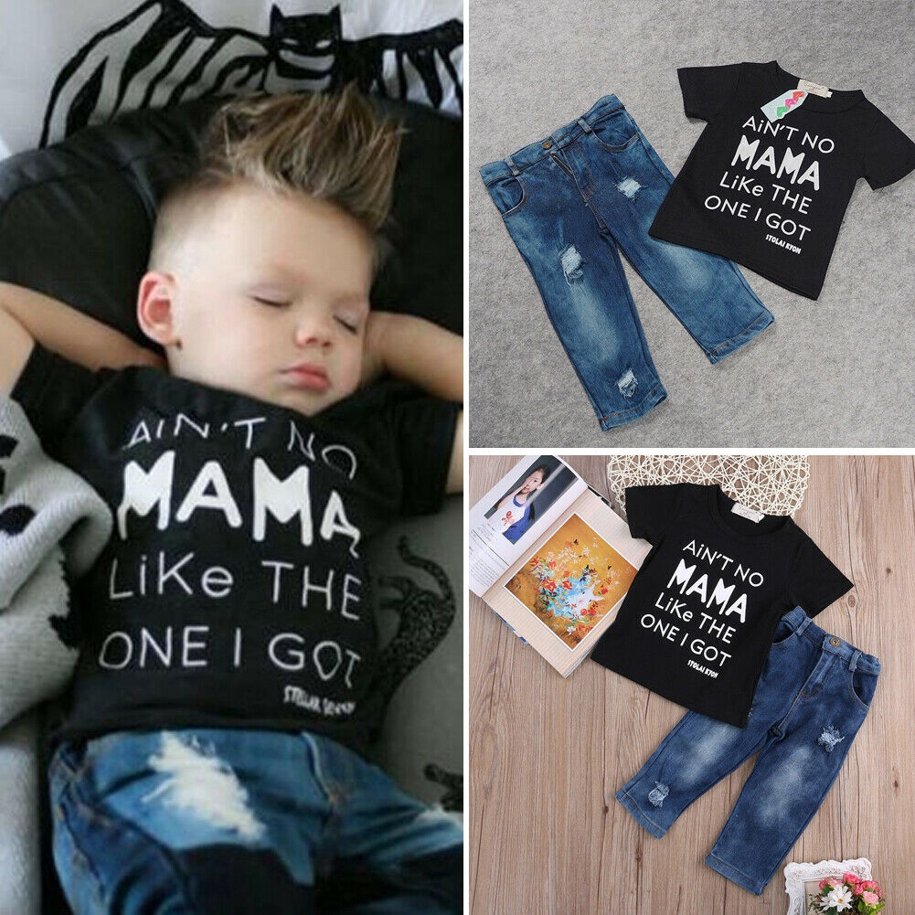 Toddler Kids Baby Boy Summer Clothes T-shirt Tops+Long Pants 2pcs Outfits Set