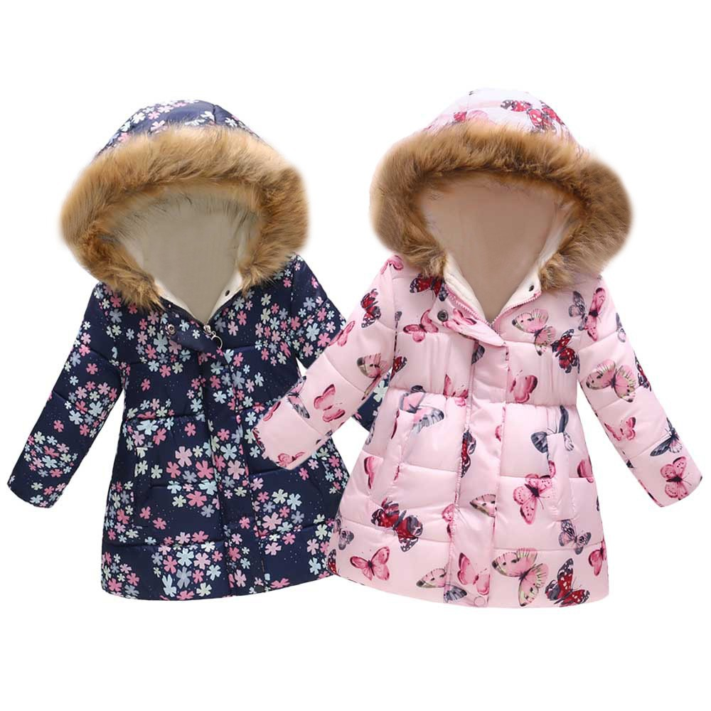 Toddler Kids Girls Boys Floral Jackets Baby Toddler Warm Waistcoat Clothes Coat