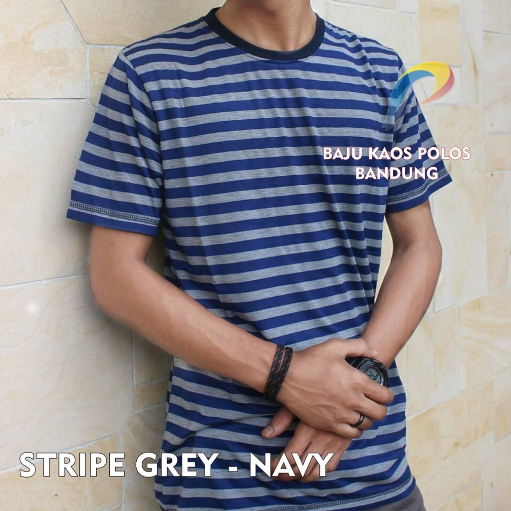 Kaos Navy Fullprint Cotton Polos Bandung Stripe Murah Blue Baju Pria Shopee Indonesia