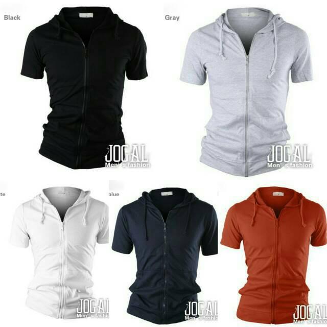 NEW DESIGN Jaket Hoodie Lengan Pendek Zipper Hitam Navy Merah Abu Muda Putih Sleeve Hoodie Zipper | Shopee Indonesia