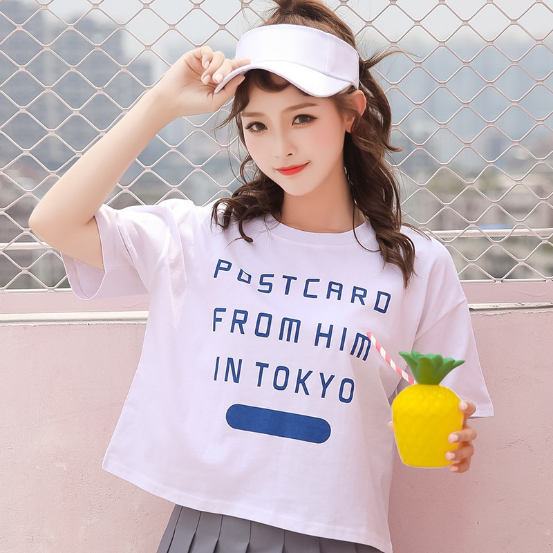 Korean chic letters embroidered loose bf cotton Harajuku style short-sleeved t-shirt female student   Shopee Indonesia