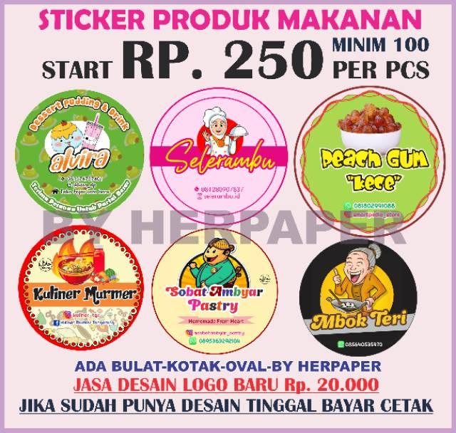 Po Stiker Makanan Logo Olshop Murah Label Kue Label Kemasan