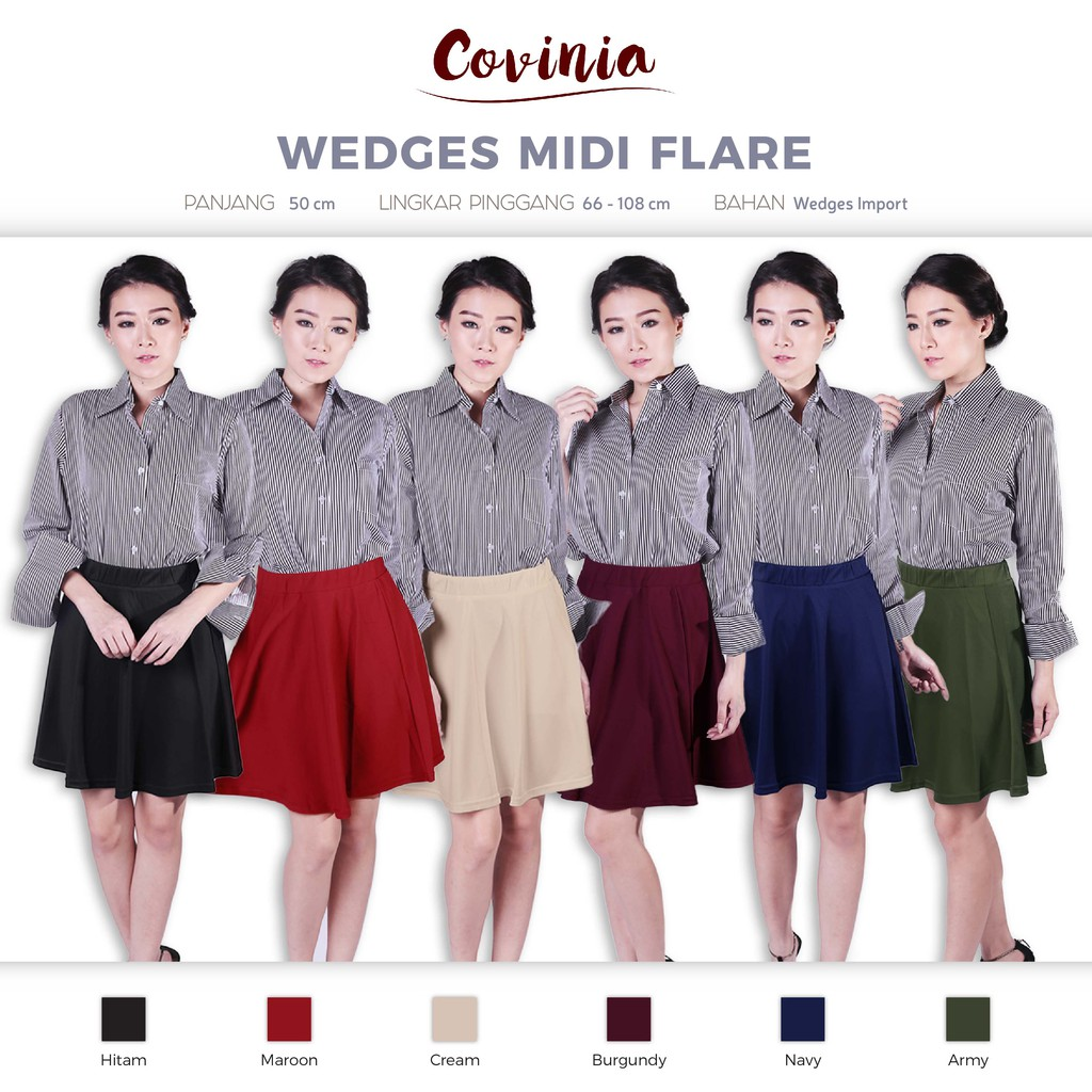 Full Flare Skirt Scuba Rok Bawahan Wanita Premium Quality RK167!   Shopee Indonesia