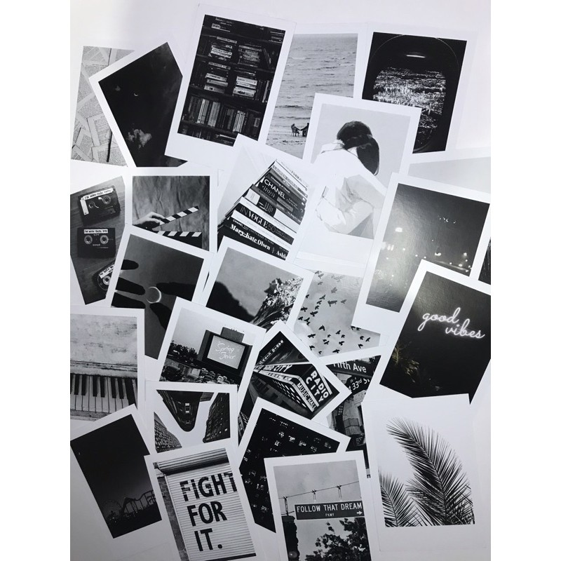 Paket Tema 25 Foto Black Themed Polaroid Dekorasi Kamar Aesthetic Shopee Indonesia