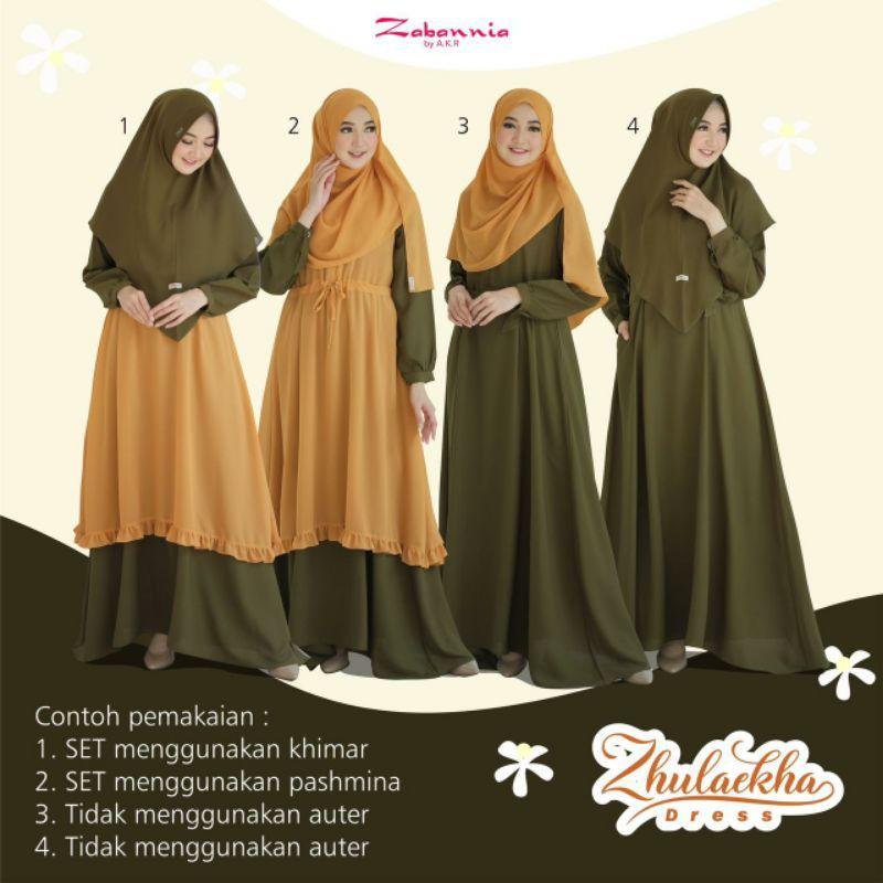 VIRAL!!! Dress Zulaikha 4in1 Original Zabannia, Gamis Teebaru, Baju lebaran 2021