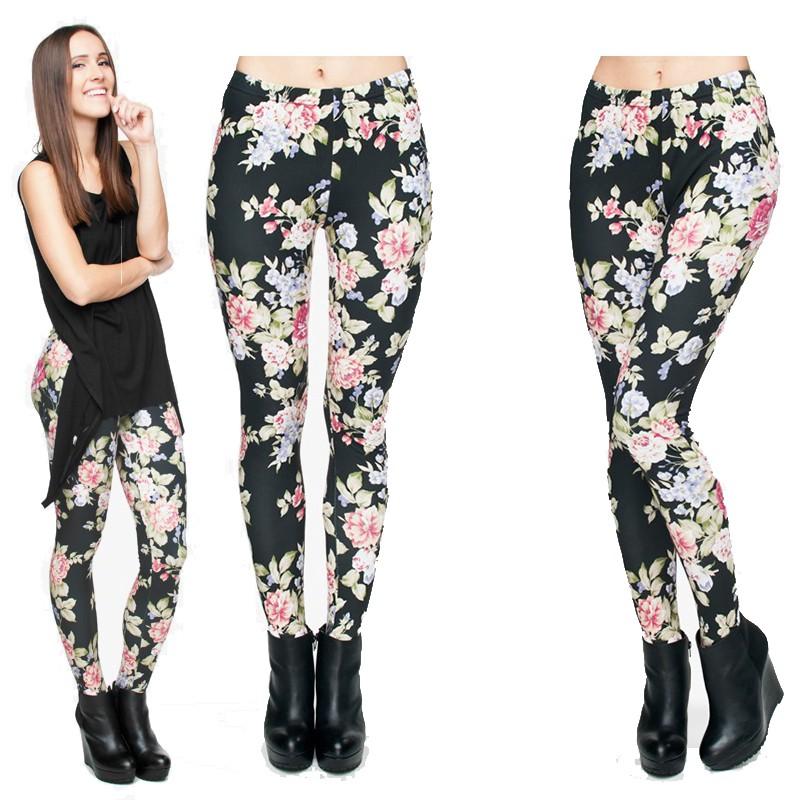 Celana Legging Panjang Wanita Motif Print Bunga Mawar Warna Hitam Untuk Gym Yoga Olahraga Shopee Indonesia