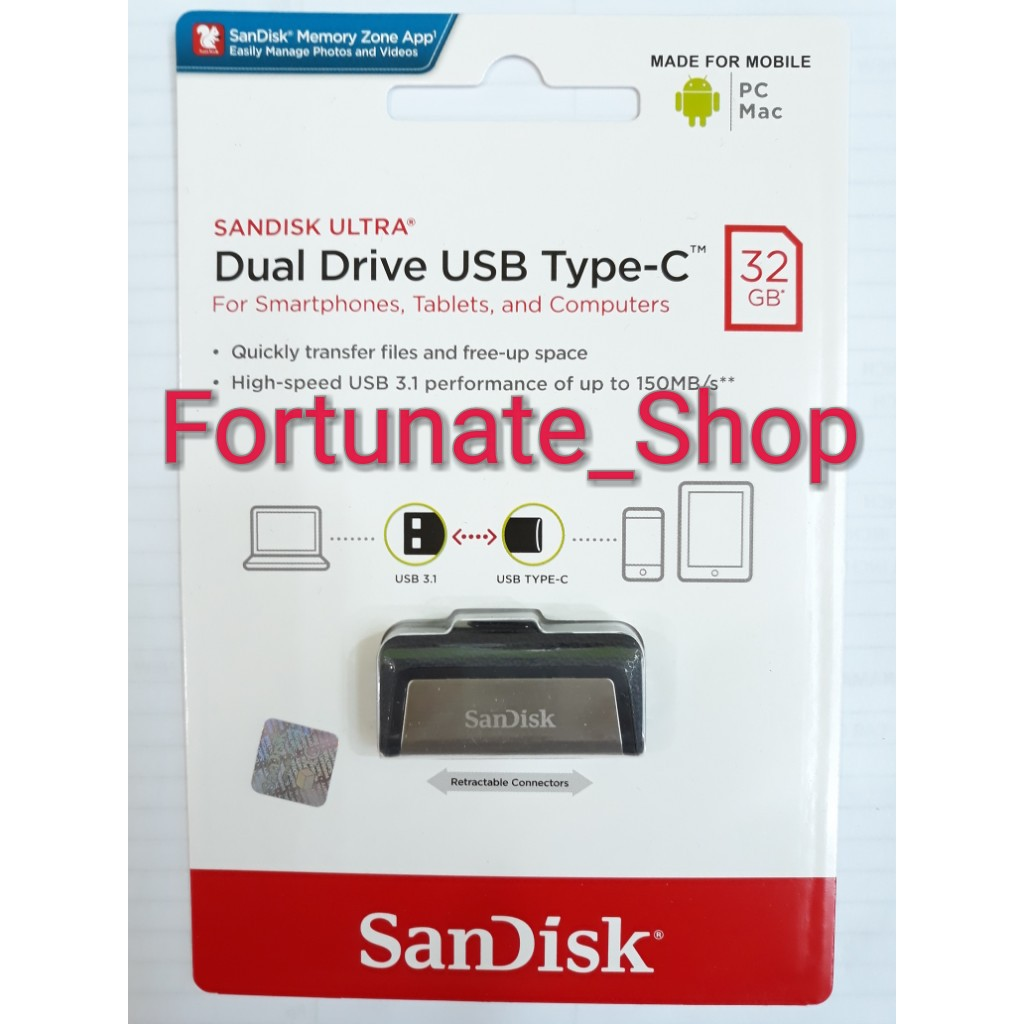Sandisk Flashdisk Otg Type C 64gb Usb 31 Up To 150mbps Shopee 32gb 150mb S 30 Dual Drive Garansi Resmi Indonesia
