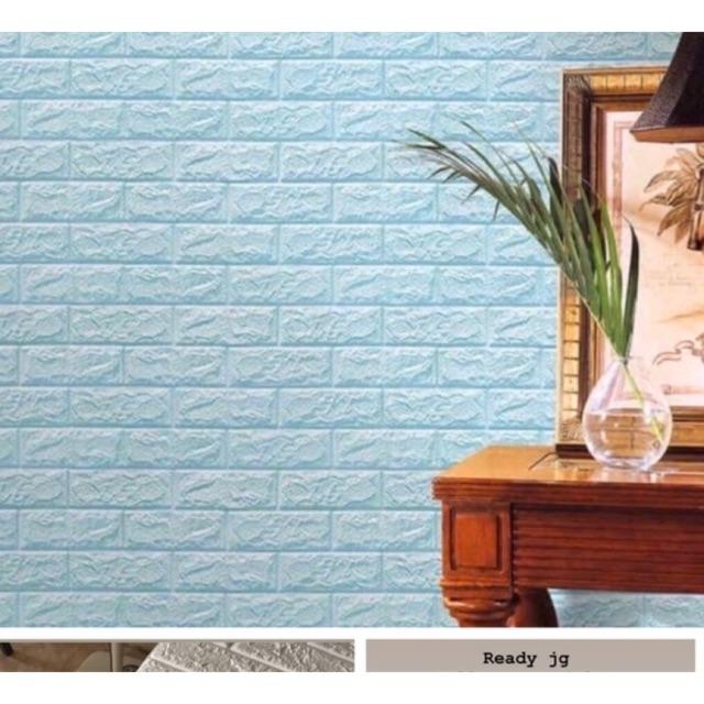 Wallpaper 3D Foam Brick Bata Biru Muda