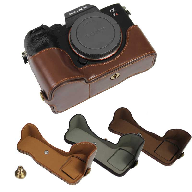 PU Leather Camera Base Half Protect Cover Case For Sony A7R4 A7RIV A7Rm4 A7R IV