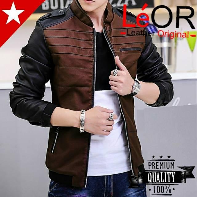 Jaket Kulit Pria Leather Jacket Cowok BTS KPOP Korea  1440be24df
