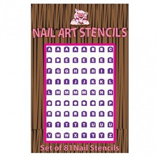 Piggy Paint Alphabet Nail Stencils Sticker Kuku thumbnail