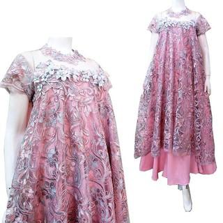 Long Dress Brokat Prada Premium 3d Furing Satin Cocok Digunakan Ibu