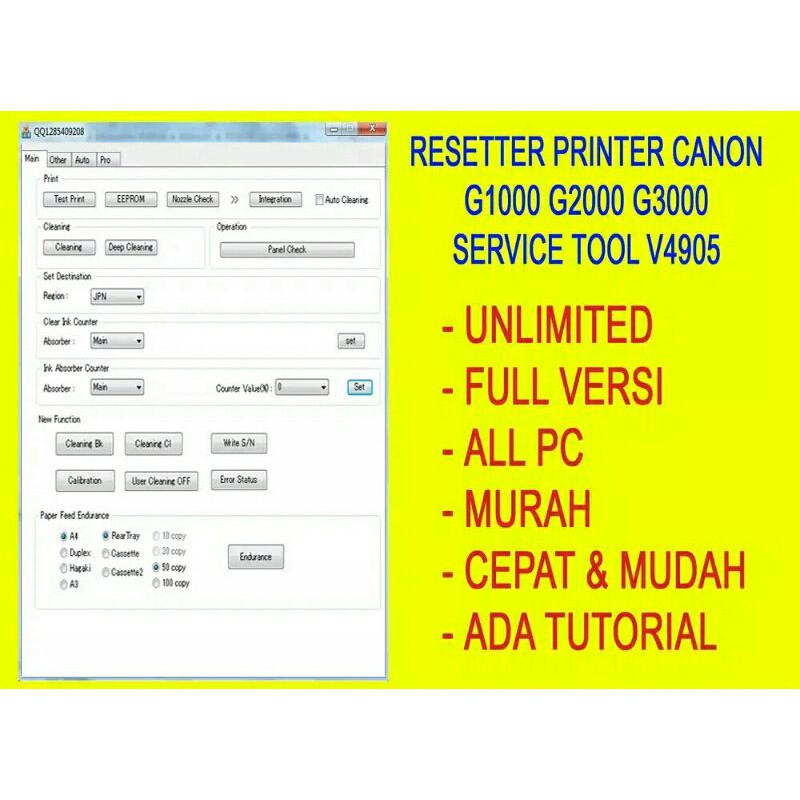 RESSETER CANON G1000 G2000 G3000 UNLIMITED BANYAK PC